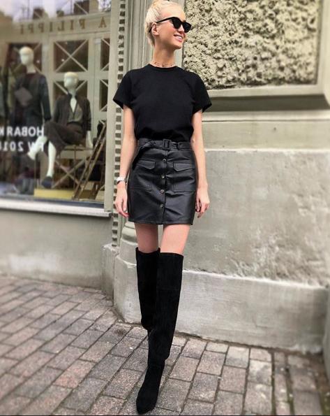 короткая кожанаю юбка