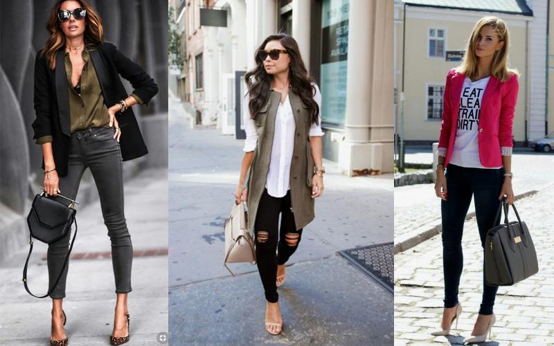 деловые образы с черными джинсами