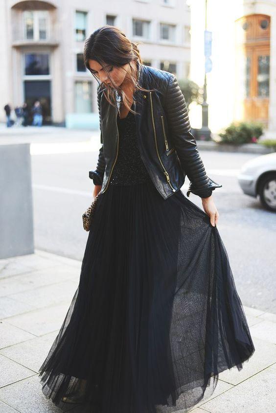 черная длинная юбка