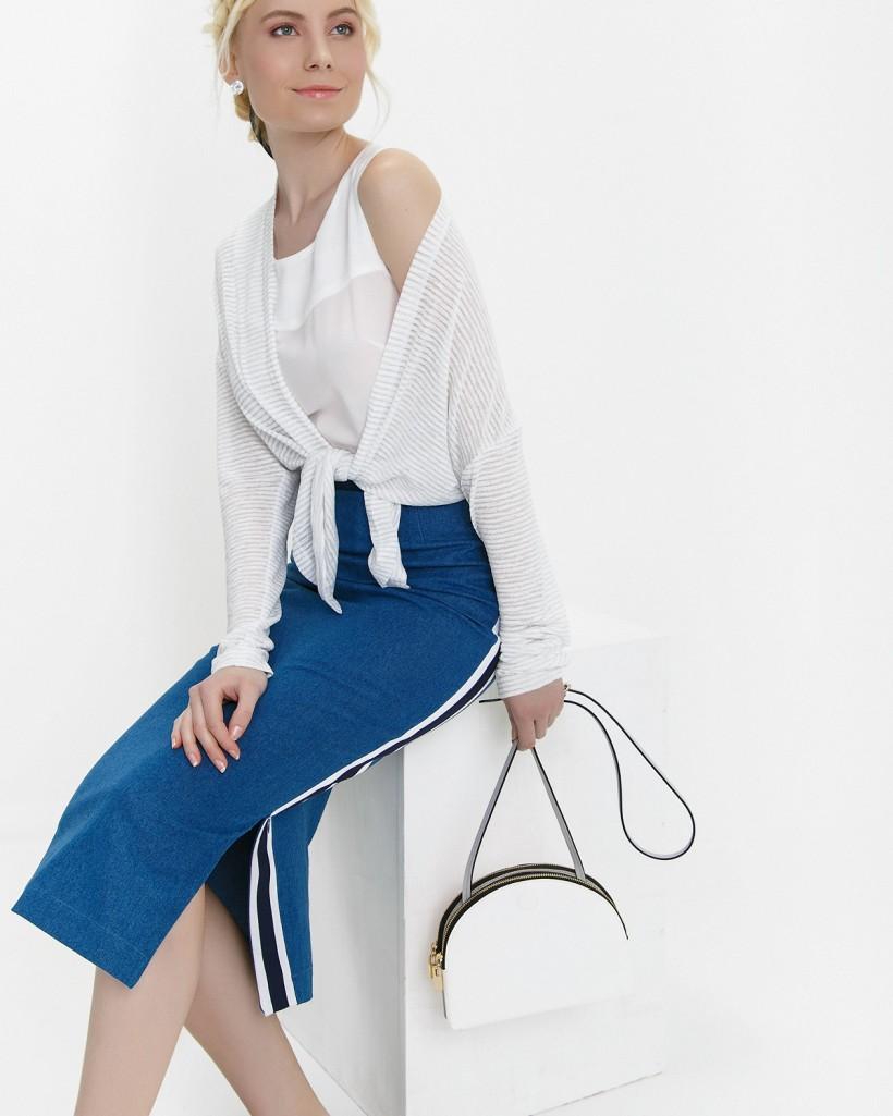 синяя юбка с лампасами по бокам