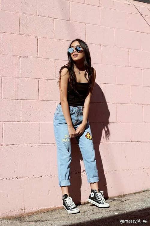 с чем носить джинсы мом